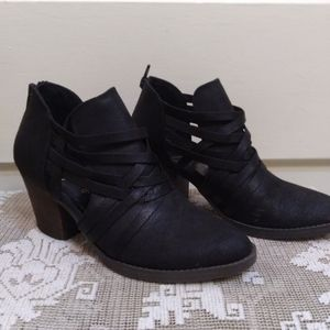 Fergie Faux Suede Strappy Ankle Boots.